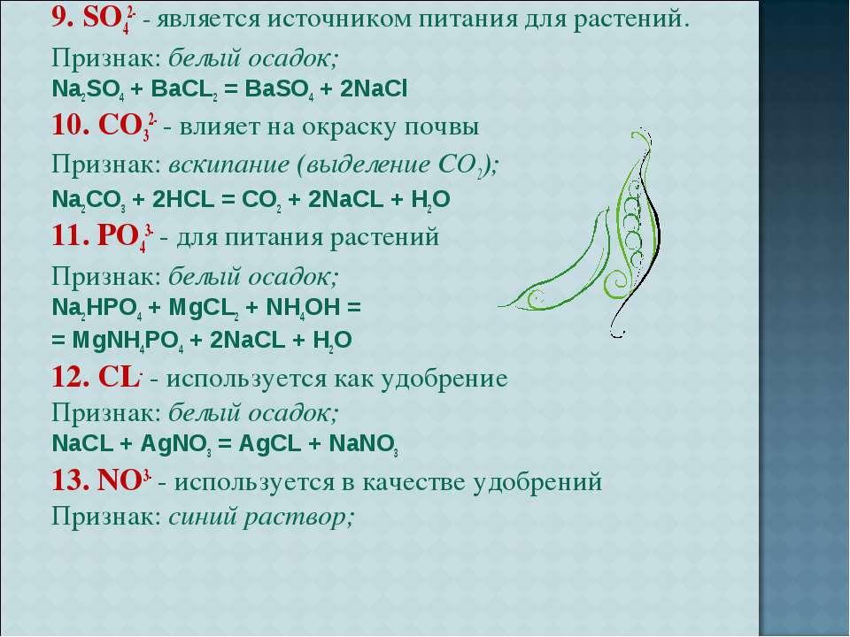 9. SO42- - является источником питания для растений. Признак: белый осадок; N...