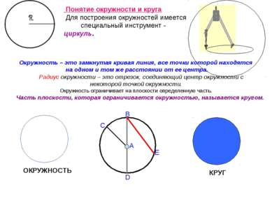 Окружность – это замкнутая кривая линия, все точки которой находятся на одном...