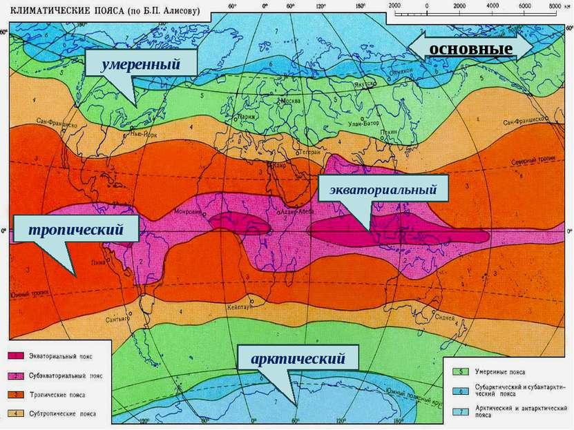 экваториальный умеренный тропический арктический основные
