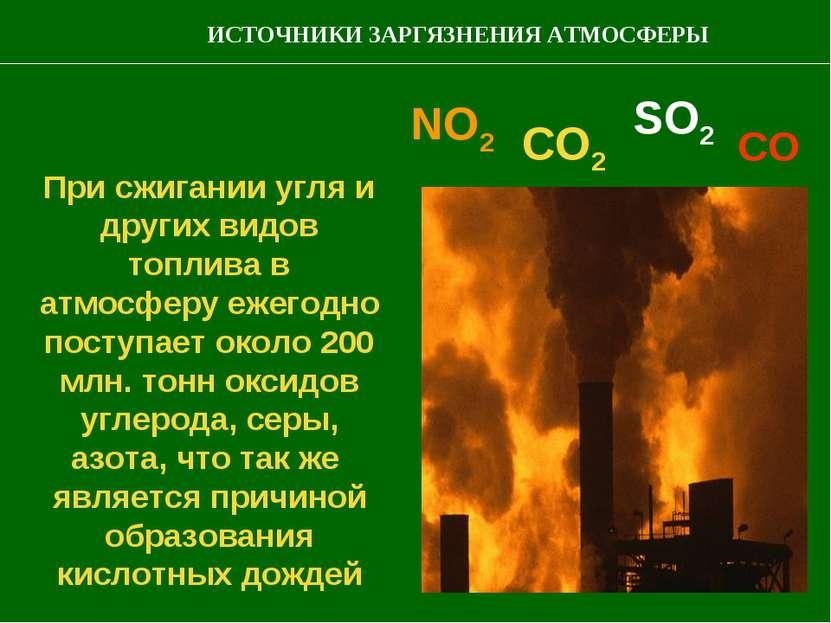 При сжигании угля и других видов топлива в атмосферу ежегодно поступает около...