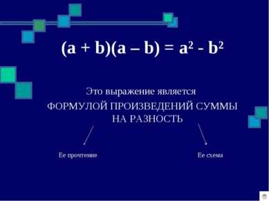 (a + b)(a – b) = a² - b² Это выражение является ФОРМУЛОЙ ПРОИЗВЕДЕНИЙ СУММЫ Н...