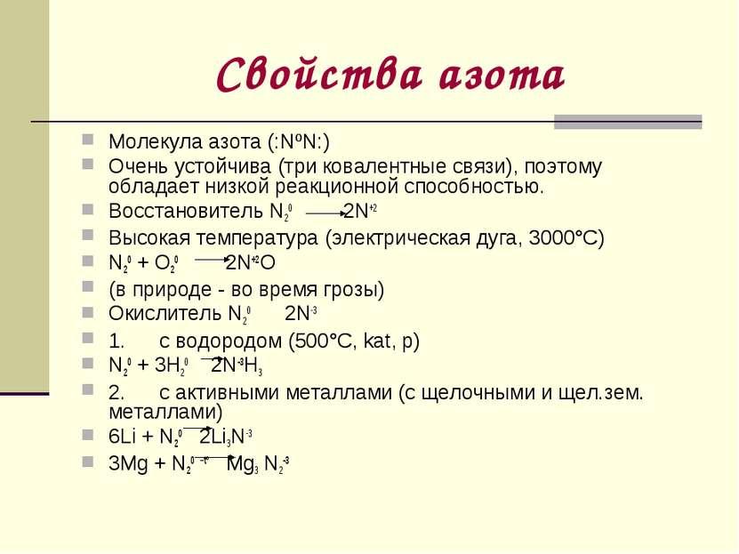 Свойства азота Молекула азота (:NºN:) Очень устойчива (три ковалентные связи)...