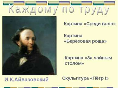 И.К.Айвазовский Картина «Среди волн» Картина «Берёзовая роща» Картина «За чай...