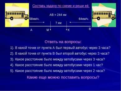 58км/ч. 64км/ч. ? км А В АВ = 244 км Составь задачу по схеме и реши её. Ответ...