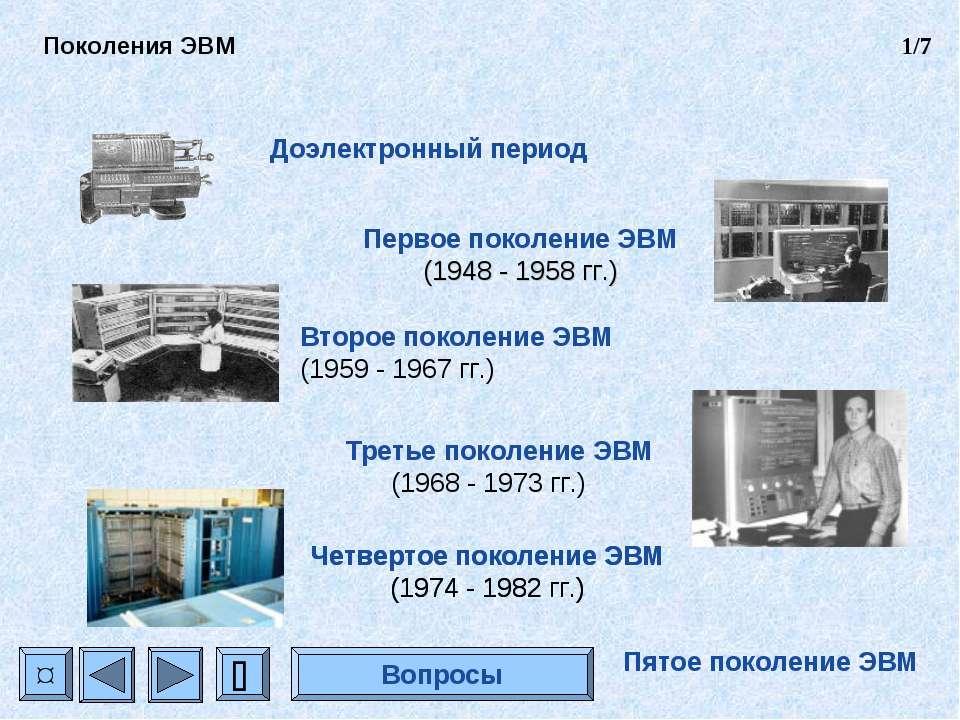 Доэлектронный период Первое поколение ЭВМ (1948 - 1958 гг.) Второе поколение ...
