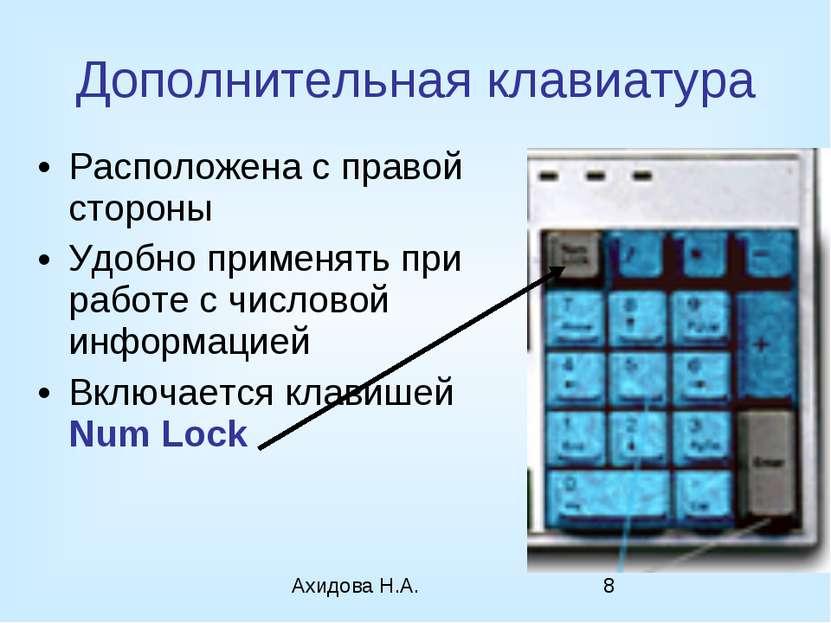 Дополнительная клавиатура Расположена с правой стороны Удобно применять при р...