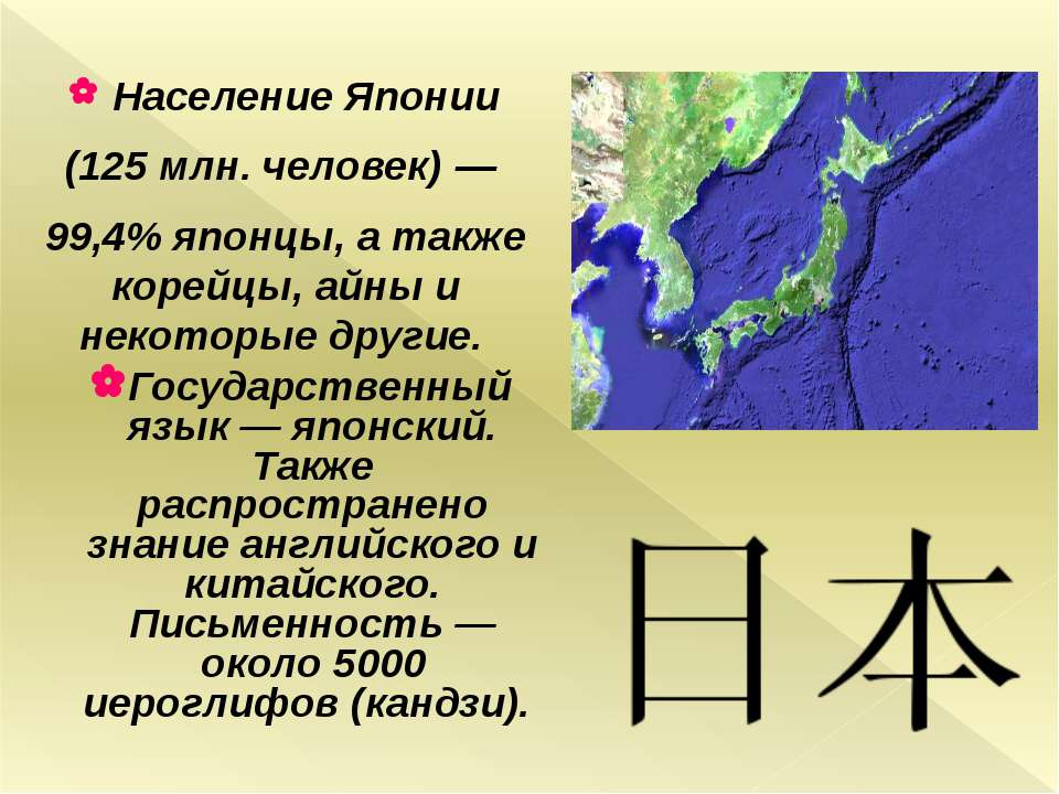 Население Японии (125 млн. человек)— 99,4% японцы, а также корейцы, айны и н...