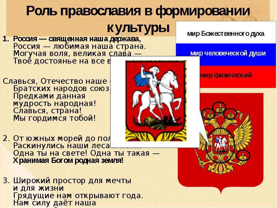 Роль православия в формировании культуры Россия— священная нашадержава, Рос...