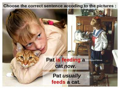 Pat is feeding a cat now. Pat usually feeds a cat. Choose the correct sentenc...