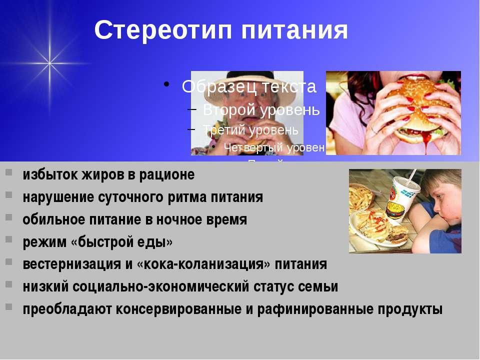 Стереотип питания избыток жиров в рационе нарушение суточного ритма питания о...