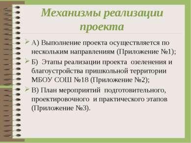 Механизмы реализации проекта А) Выполнение проекта осуществляется по нескольк...