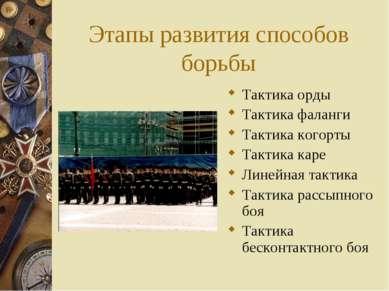 Этапы развития способов борьбы Тактика орды Тактика фаланги Тактика когорты Т...