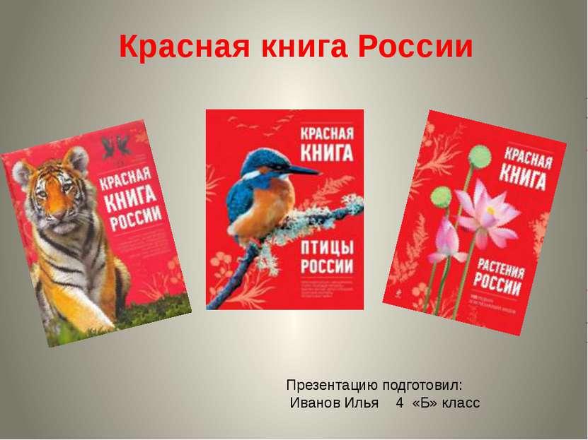 Красная книга России Презентацию подготовил: Иванов Илья 4 «Б» класс