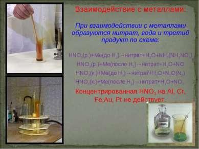 Взаимодействие с металлами: При взаимодействии с металлами образуются нитрат,...