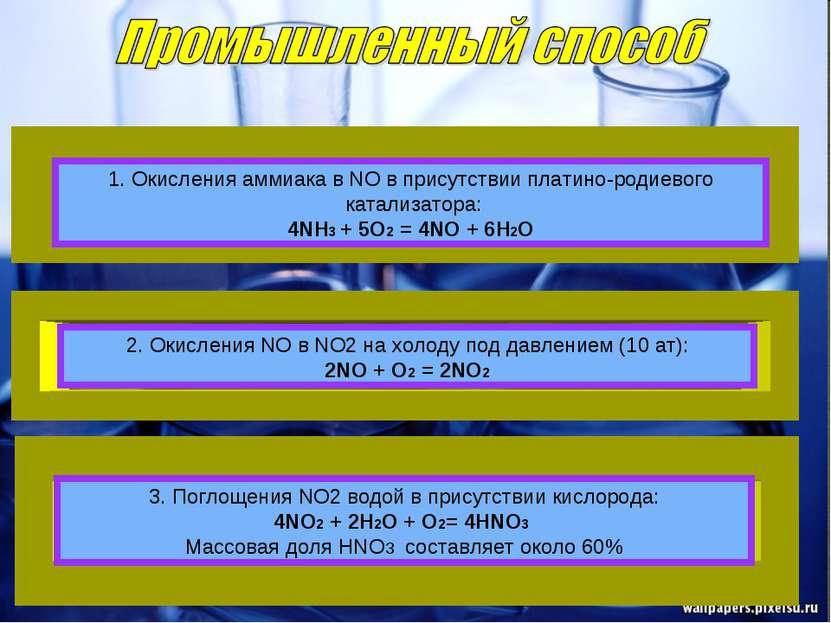 1. Окисления аммиaка в NO в присутствии платино-родиевого катализатора: 4NH3 ...