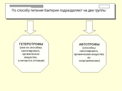 По способу питания бактерии подразделяют на две группы ГЕТЕРОТРОФЫ (они не сп...