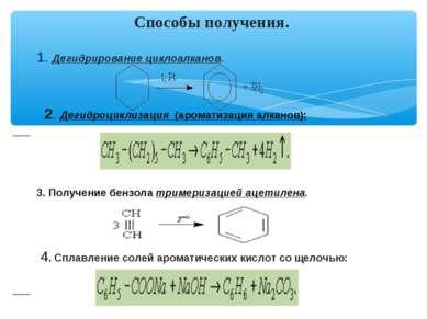 1. Дегидрирование циклоалканов. 2. Дегидроциклизация (ароматизация алканов): ...