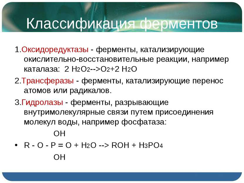 Классификация ферментов 1.Оксидоредуктазы - ферменты, катализирующие окислите...