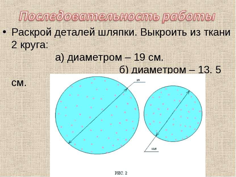 Раскрой деталей шляпки. Выкроить из ткани 2 круга: а) диаметром – 19 см. б) д...