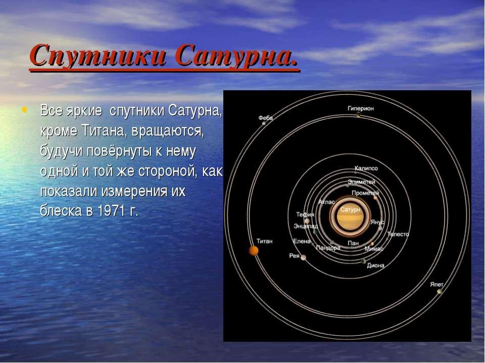 Спутники Сатурна. Все яркие спутники Сатурна, кроме Титана, вращаются, будучи...