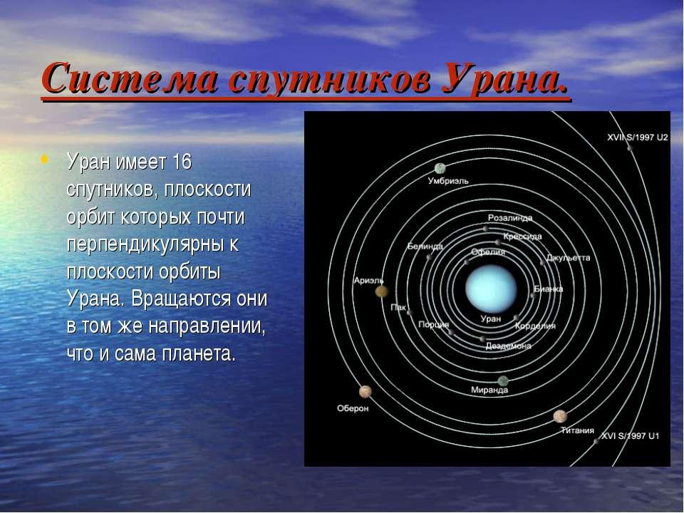 Система спутников Урана. Уран имеет 16 спутников, плоскости орбит которых поч...
