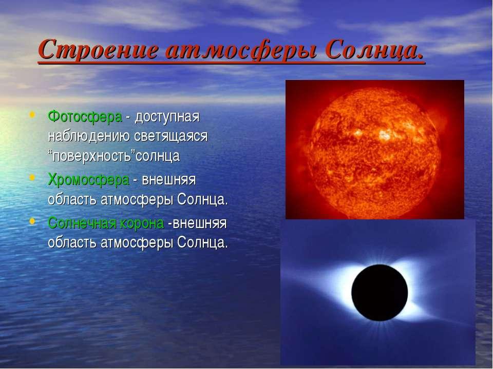 """Строение атмосферы Солнца. Фотосфера - доступная наблюдению светящаяся """"повер..."""