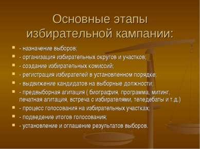 Основные этапы избирательной кампании: - назначение выборов; - организация из...