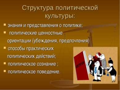 Структура политической культуры: знания и представления о политике; политичес...