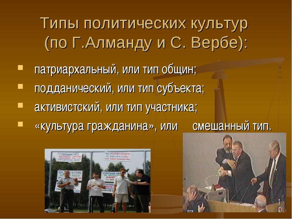 Типы политических культур (по Г.Алманду и С. Вербе): патриархальный, или тип ...