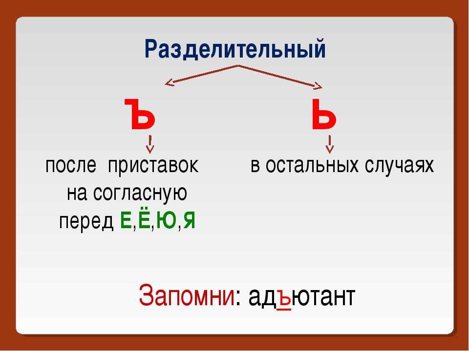 Разделительный ъ ь после приставок на согласную перед Е,Ё,Ю,Я в остальных слу...