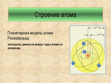 Строение атома Планетарная модель атома Резерфорда: электроны движутся вокруг...