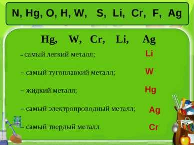 N, Hg, O, H, W, S, Li, Сr, F, Ag Hg, W, Сr, Li, Ag – самый легкий металл; – с...
