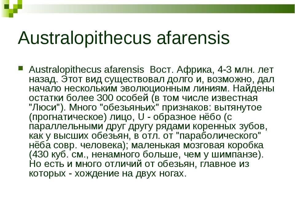 Australopithecus afarensis Australopithecus afarensis Вост. Африка, 4-3 млн. ...
