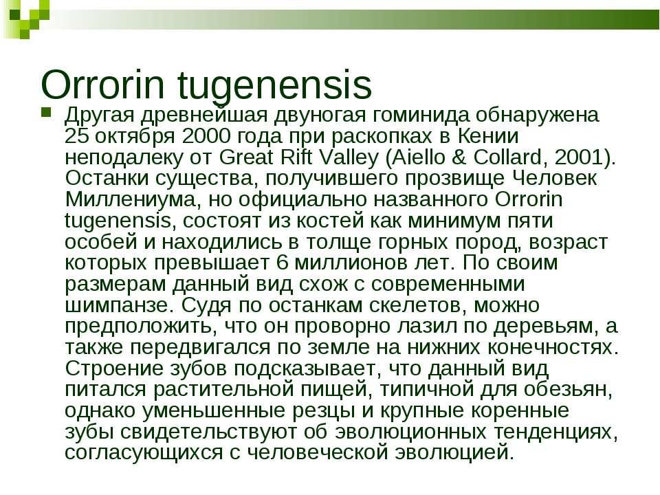 Orrorin tugenensis Другая древнейшая двуногая гоминида обнаружена 25 октября ...