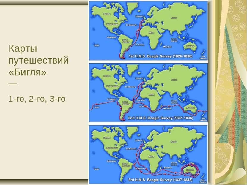 Карты путешествий «Бигля» — 1-го, 2-го, 3-го
