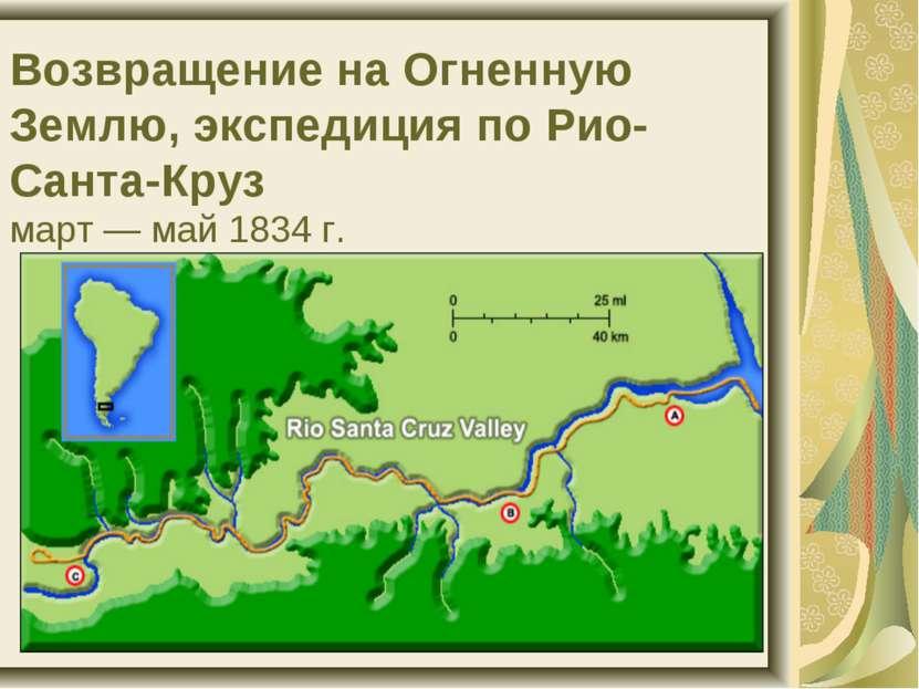 Возвращение на Огненную Землю, экспедиция по Рио-Санта-Круз март — май 1834 г.