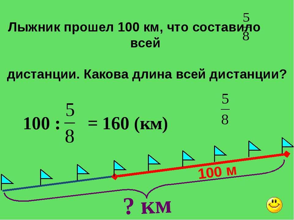 100 м ? км Лыжник прошел 100 км, что составило всей дистанции. Какова длина в...