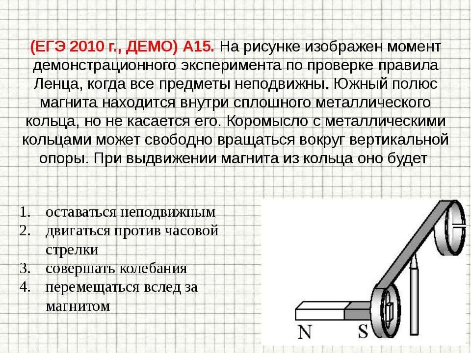(ЕГЭ 2010 г., ДЕМО) А15. На рисунке изображен момент демонстрационного экспер...
