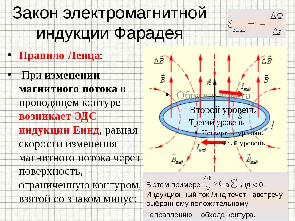 Закон электромагнитной индукции Фарадея Правило Ленца: При изменении магнитно...