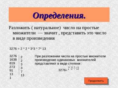 Определения. Разложить ( натуральное) число на простые множители — значит , п...