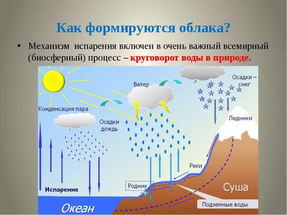 Как формируются облака? Механизм испарения включен в очень важный всемирный (...