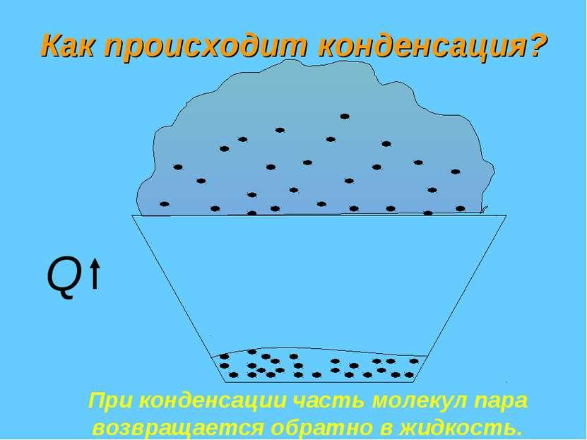 Как происходит конденсация? При конденсации часть молекул пара возвращается о...
