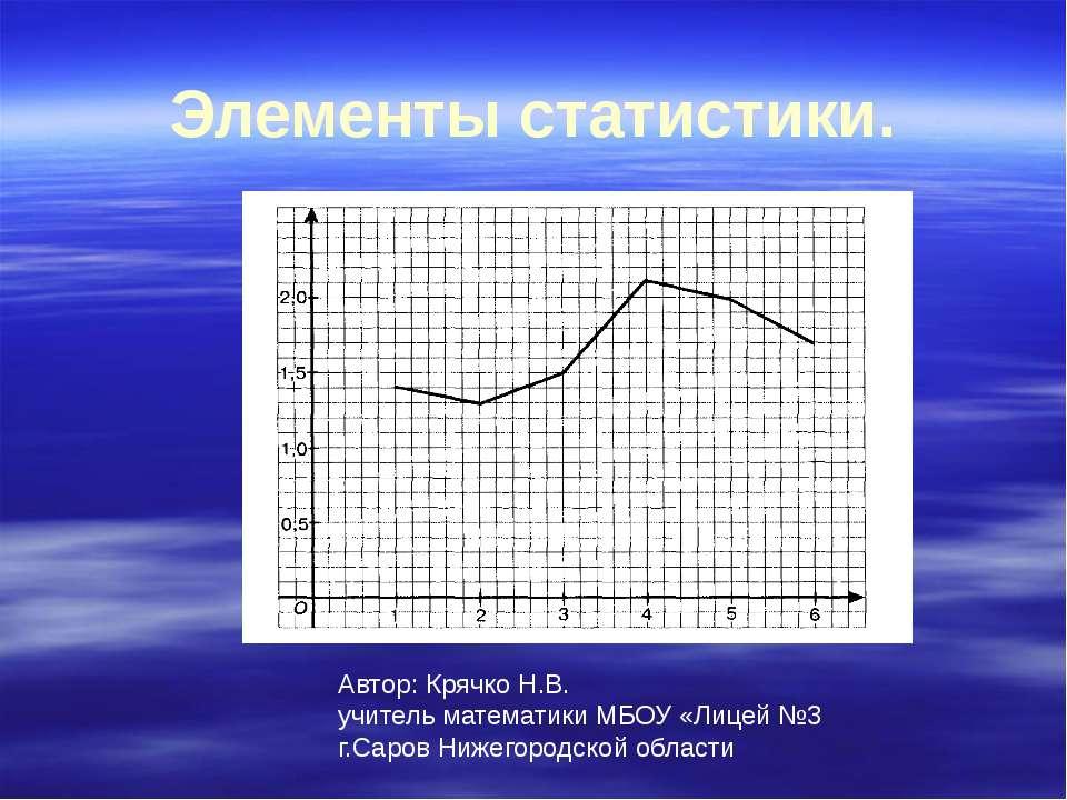 Элементы статистики. Автор: Крячко Н.В. учитель математики МБОУ «Лицей №3 г.С...