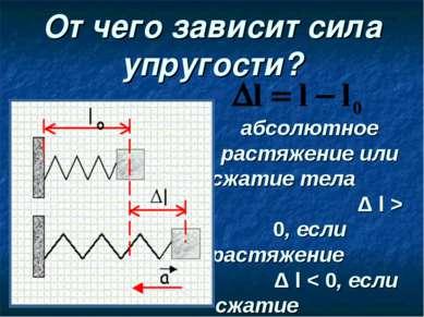 От чего зависит сила упругости? абсолютное растяжение или сжатие тела Δ l > 0...