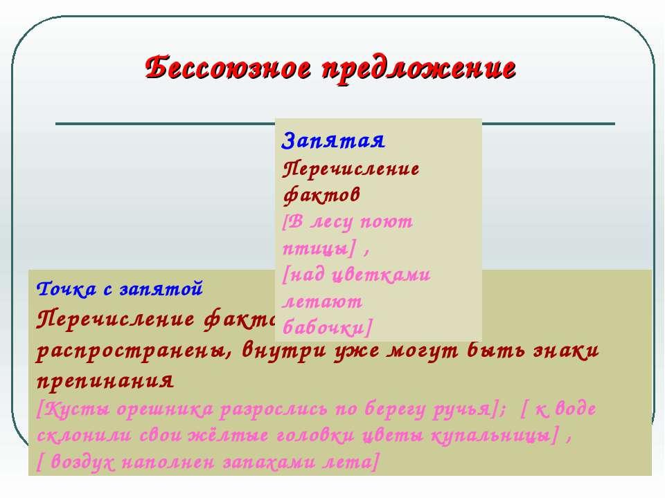 Бессоюзное предложение Точка с запятой Перечисление фактов, предложения распр...