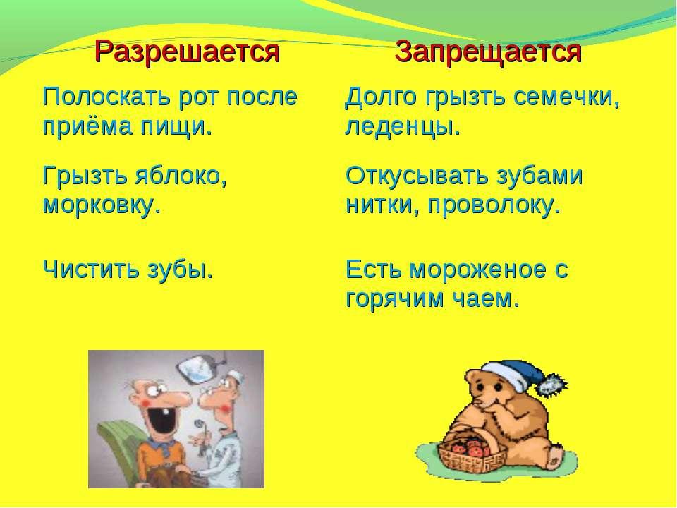 Разрешается Запрещается Полоскать рот после приёма пищи. Долго грызть семечки...