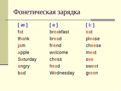 Фонетическая зарядка [ æ ] [ e ] [ i: ] fat breakfast eat thank bread please ...