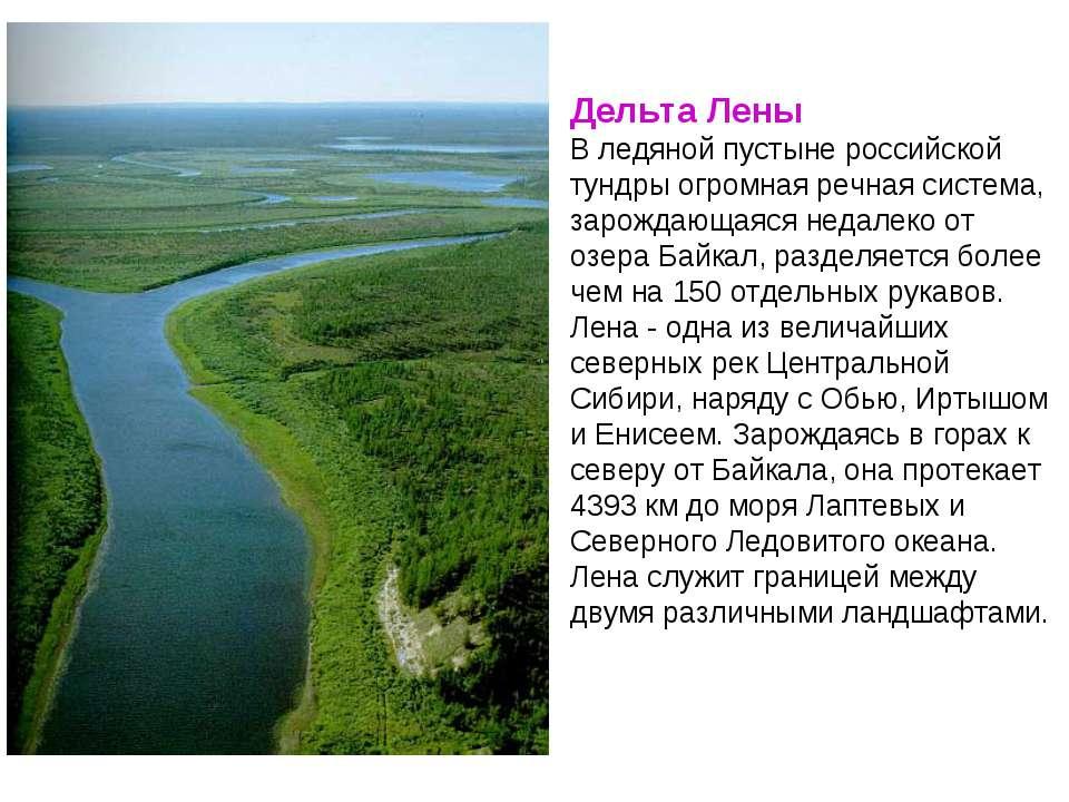 Дельта Лены В ледяной пустыне российской тундры огромная речная система, заро...