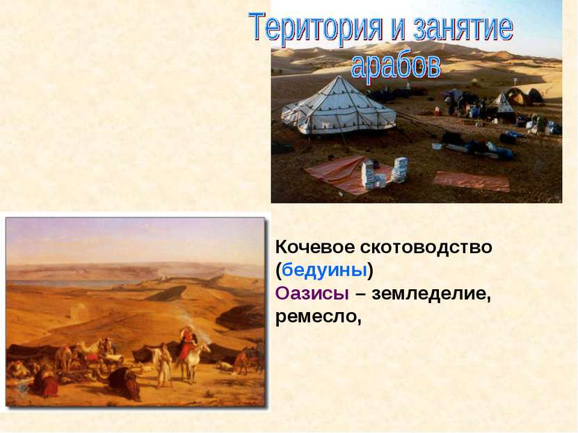Кочевое скотоводство (бедуины) Оазисы – земледелие, ремесло,