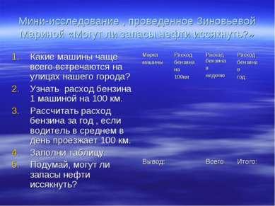 Мини-исследование , проведенное Зиновьевой Мариной «Могут ли запасы нефти исс...